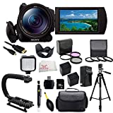 Sony FDR-AX100/B 4K Video Camera with 3.5-Inch LCD (Black) with Accessory Bundle Kit which Includes 3 Piece Multi-Coated Filter Kit, 4 Piece Macro Closeup Lens Set, Lens Tulip Hood, 2 Replacement NP-FV70 Batteries, Rapid Travel Charger, plus MORE