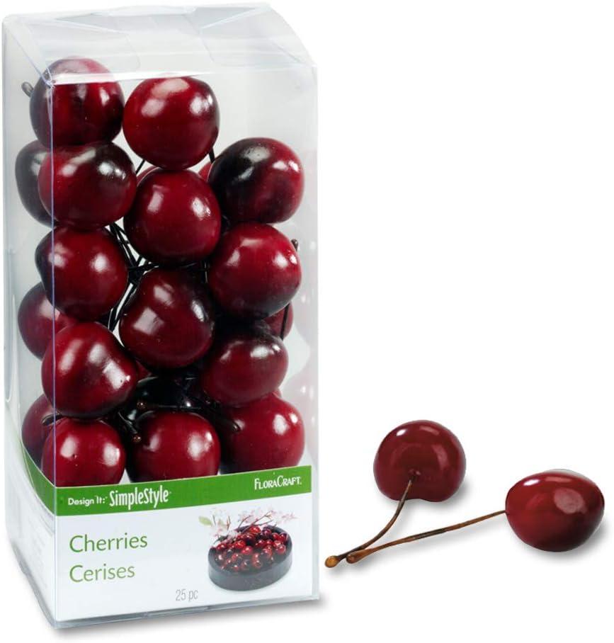 FloraCraft 25 Piece Decorative Fruit Cherry
