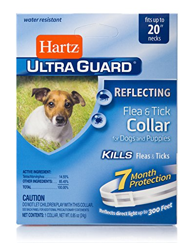 """Hartz UltraGuard Reflective Flea & Tick Collar for Dogs and Puppies - 20"""" Neck,  7 Month Protection"""
