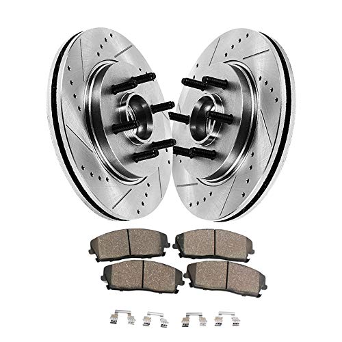 (Detroit Axle - Pair (2) Front Drilled and Slotted Disc Brake Rotors w/Ceramic Pads w/Hardware for 2004 2005 2006 2007 2008 Ford F-150 - [2006-2008 Lincoln Mark LT] - 2WD 6 Lug Only )