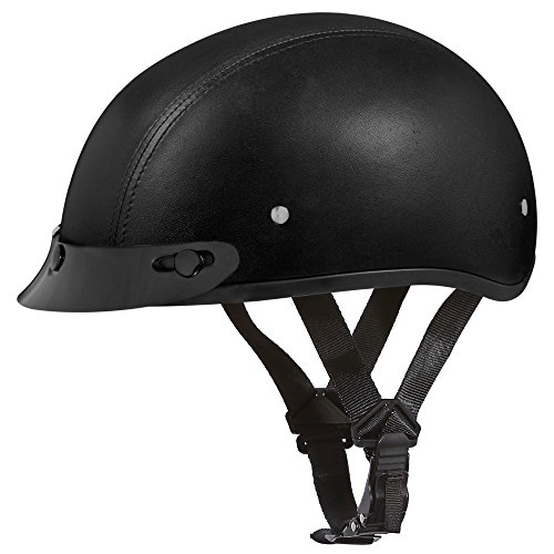 Leather Covered Motorcycle Helmet - 8