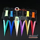 New 6PC 6. 5'' Ninja Kunai Extreme Combat Gear Throwing EcoGift Limited Edition Elite Knife Set Technicolor +Sheath