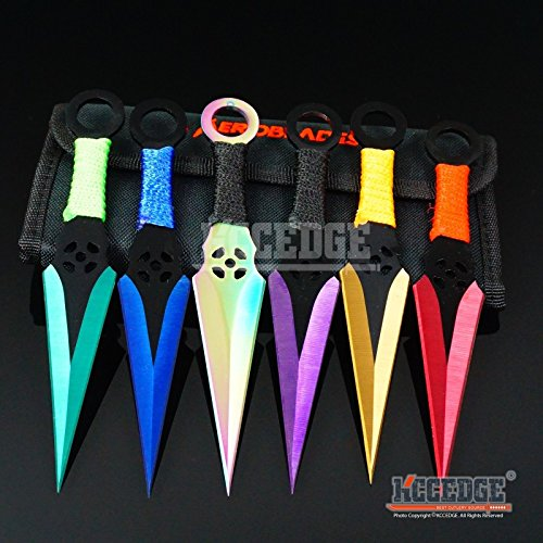 New 6PC 6. 5'' Ninja Kunai Extreme Combat Gear Throwing EcoGift Limited Edition Elite Knife Set Technicolor +Sheath by New