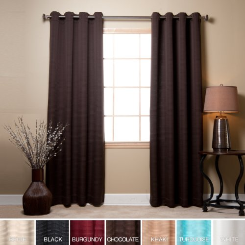 Best Home Fashion – Chocolate Square Quilted Grommet Top Curtain 84