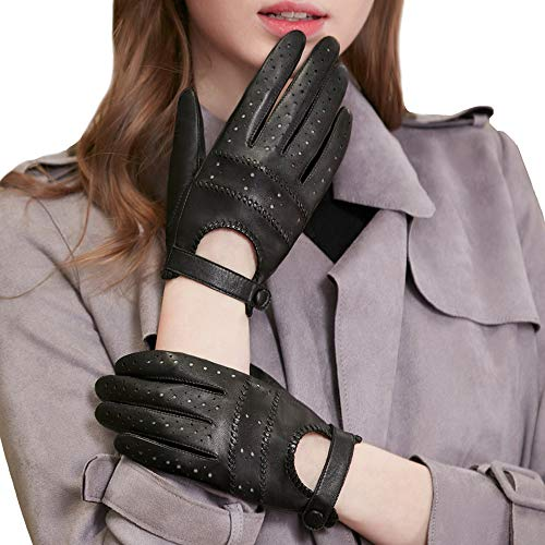 GSG Women's Black Leather Driving Gloves Perforated Motorcycle Riding Ladies Summer Gloves 8