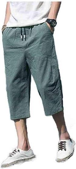 Beeatree Men Oversized 3/4 Pants Cotton Linen Elastic Waist Casual Pants
