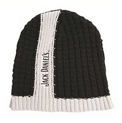 Center Stripe Cap - Jack Daniels Men's Center Stripe Skull Winter Beanie Hat OSFM JD77-85