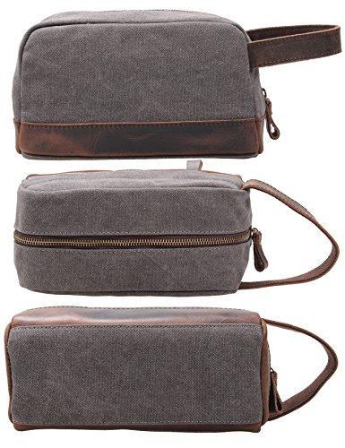 2d4526bd568d MSG Vintage Leather Canvas Travel Toiletry Bag Shaving Dopp Kit  A001 (Grey)