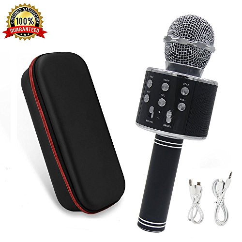 Wireless Portable Karaoke (Karaoke Microphone Wireless with Bluetooth Speaker - Instagram 5000+Likes iPhone Android PC Smartphone Portable Handheld Microphone for Singing Recording Interviews or Kids Home KTV Party (Black))