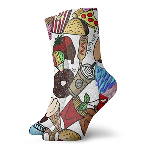 Men's & Women's Casual Crew Socks - Colorful Snack Fast Food Collection Polyester Short Socks - Athletic Non-Slip Dress Gift Socks for Running/Camping/Hiking]()