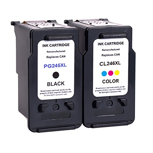 2 Pack Remanufactured PG 245XL CL 246XL 245 XL 246 XL High Yield Ink Cartridge Replacement (1 Black+1 Tri-Color) With Ink Level Indicator Used In PIXMA iP2820 MG2420 MG2520 MG2922 MG2924 MX492 Printer
