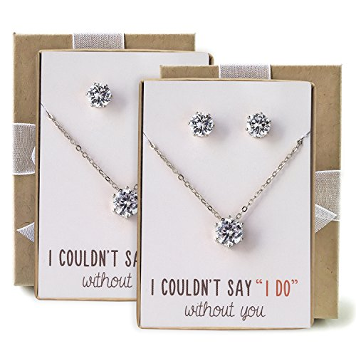 Bridesmaid jewelry gift Cubic Zirconia Necklace set, Set of 2