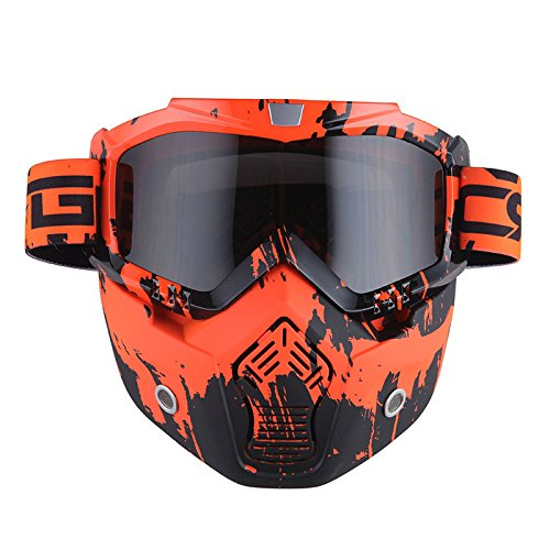Motorcycle Goggles Mask, Detachable for Motocross Helmet Goggles use, Tactical Airsoft Goggles Mask: Valley Orange with Tinted Lens
