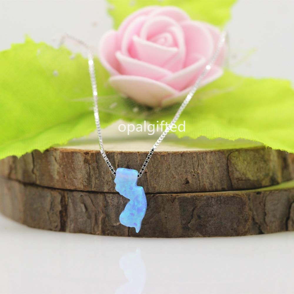 op17 Opal Necklace with 925 Sterling Synthetic Light Blue Opal Necklace 1Pc//Lot New Jersey Map USA Island Pendant