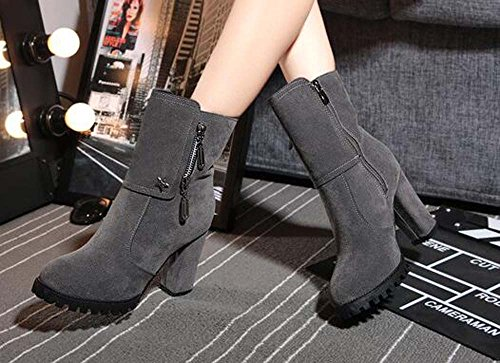 Nubuck Warm Cold Naughtyangel Chunky Round High Solid Grey Womens Waterproof Heel Closed Boots Toe Weather C8q5w48x