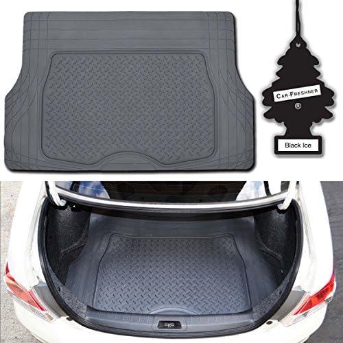 Premium Odorless Gray Heavy Duty Trimmable Ridged Rubber Cargo Floor Mat w/Little Tree Blackice (MotorTrend)