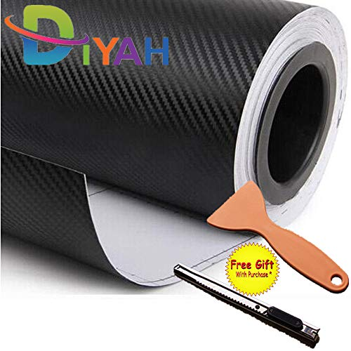 DIYAH 3D Black Carbon Fiber Film Twill Weave Vinyl Sheet Roll Wrap DIY Decals with Gift Knife and Hand Tool (60