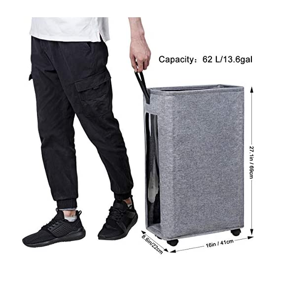 """ZERO JET LAG 27 inches Slim Laundry Hamper Large Tall Laundry Basket on Wheels Clear Window Visible Dirty Clothes Hamper… - 【HEIGHTEN & WIDEN SIZE】 The updated laundry basket allows you to pack more clothes than before,at least 3 to 4 more clothes.so you don't have to go to the laundry room often.Refer size:16""""×8.6""""×27"""" Capacity:62L / 13.6gal 【CLEAR & SIMPLY 】With a transparent window, you do not need to go through of piles before you find what you are looking for. Save time, just peep through the """"window"""" and see if to open. 【PU HANDLE & WHEEL DESIGN】Comfortable PU handle allow you to easily move a dirty laundry basket.The wheels under the hamper make it easy to transport. - laundry-room, hampers-baskets, entryway-laundry-room - 51Hj7eqo3lL. SS570  -"""