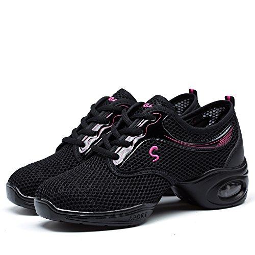 Dance VILOCY 7 Mesh Breathable 5 Ballroom Sneaker Shoes Soft Women's Jazz Black qqrXAZ