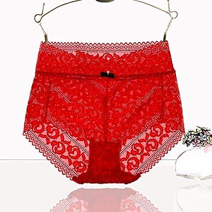 RRRRZ*sexy ropa interior femenina de encaje de cintura alta tentación para grandes hip su