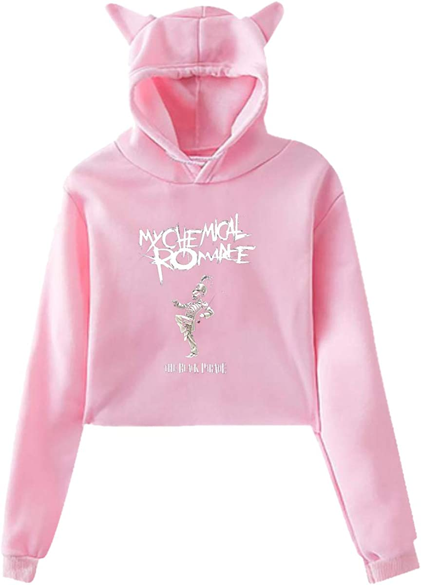 Nooleadel Womens Long Sleeve My Chemical Romance Print Cute Cat Ear Pullover Hoodie