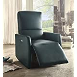 Acme Furniture 59407 Raff Power Motion Recliner, Blue Leather-Aire