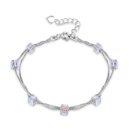 YAZILIND Sterling Silber 925 Armband Doppel Kette Mode Quadrat Candy ...