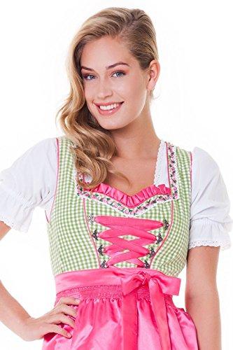 Alpenmärchen, 3tlg. Dirndl-Set - Trachtenkleid, Bluse, Schürze, Gr.32-60, grün-fuchsia, ALM3010