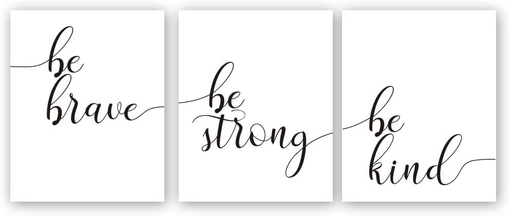 "Inspirational Quotes Art Print,Be Brave Be Strong Be Kind Motivational Phrase Canvas Painting,Set Of 3((8""x10"",Unframed)Lettering Wall Poster For Home Office Decor"