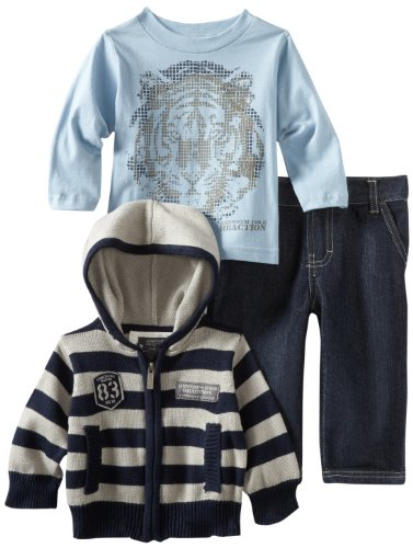 Kenneth Cole Baby Boys' Hooded Sweater And Tee With Jean