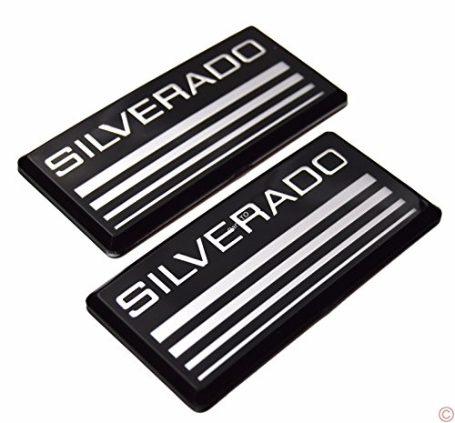 2x PartsTo Silver Cab Emblem Badge Side Roof Pillar Decal Plate for Chevy Silverado 88-98 90 91 Suburban Tahoe C/K Series Blazer (Side Pillar Chevy)
