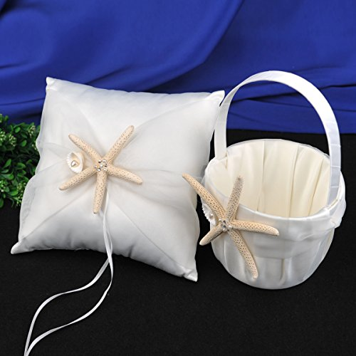 Topwedding Satin and Organza Ivory Wedding Ring Pillow and Flower Girl Basket Set with Natural Starfish -