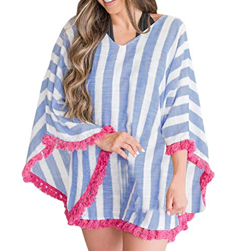 Women Striped V-Neck Coat Long Sleeve Shawl with Tassel Casual Tops Fit Autumn ()