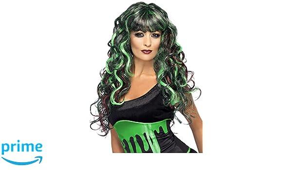 Smiffys Peluca de monstruo con manchas de sangre, Verde y morada, Larga y rizada con fle: Smiffys: Amazon.es: Juguetes y juegos