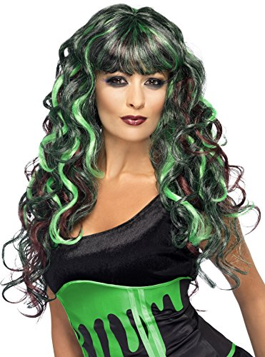 Green Witch Costume Uk (Smiffy's Women's Black and Green Long Wig, Curly with Bangs, One Size, Blood Drip Monster Wig, 21909)