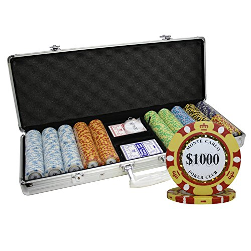 MRC 500pcs Monte Carlo Poker Club Poker Chips Set with Aluminum Case Custom Build by Mrc Poker
