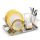 Tatkraft Class Stainless Steel Dish Drainer Rack with Tray and Cutlery Holder, 11.4X15.3X4.7