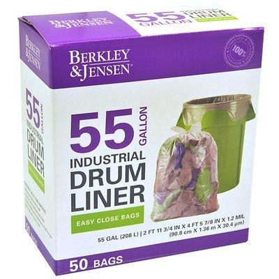 Berkly & Jensen 1.2mil Industrial Drum Liner Bags, 55 Gallon, 50 Bags ()