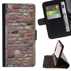 For Samsung Galaxy J3(2016) J320F J320P J320M J320Y Case , Pattern Pared adoquín antiguo antiguo- la tarjeta de Crédito Slots PU Funda de cuero Monedero caso cubierta de piel
