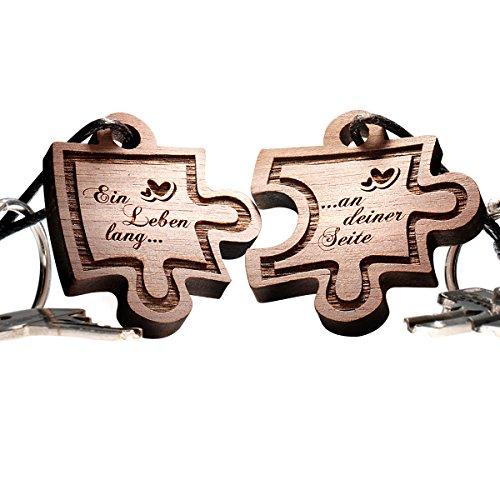 Schlüsselanhänger Puzzle aus Holz - vorgraviert mit: Ein Leben lang...