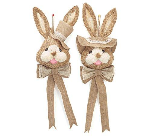 Burton & Burton Easter Bunny Sisal Door Hangers, Set of 2!