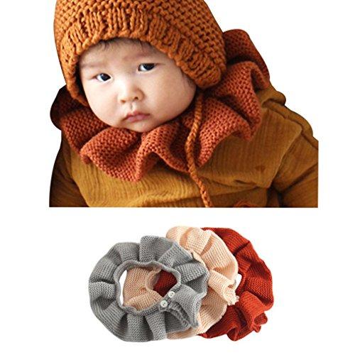 Sunbona Toddler Baby Boys Girls Weave Knitting Loop Wrap Bibs Burp Winter Cotton Warm Roun Neck Scarves - Roun Brown