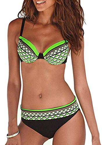 tengweng Women Fashion Push up Two Piece Bikini Set Swimsuit Colorblock Bandeau Underwire Bathing Suit M WQ04-Green