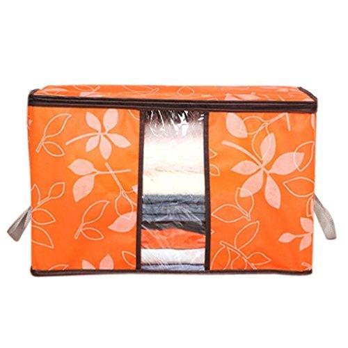 Longay 60X40X35 CM Non-Woven Receive Clothes Quilt Blanket Bag Large Luggage Organizer Storage Wardrobe Clothing Pouch Box (Orange)