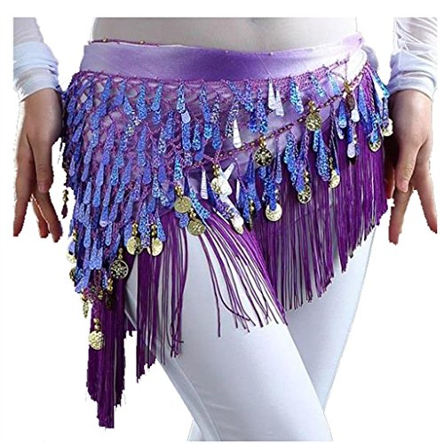 MUNAFIE Belly Dancing Belt Colorful Waist Chain Belly Dance Hip Scarf Belt Triangle - Dancer Skirt