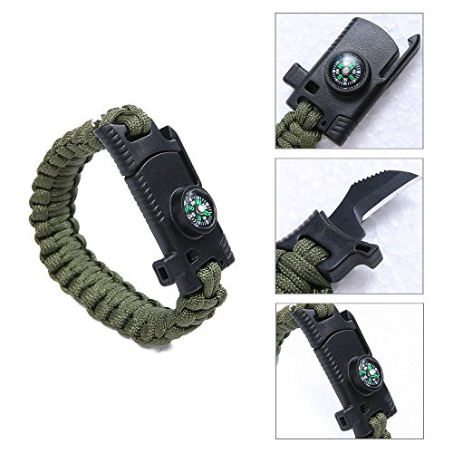 Military Outdoor Paracord Survival Bracelet 500 LB Hiking Travelling Camping Gear Kit Parachute Rope Bracelet Compass,Flint Stone,Fire Sticks,Knife,Whistle