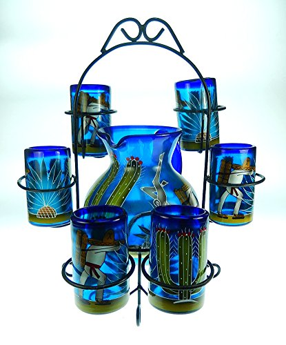 - Mexican Glasses and Pitcher set with display rack, Hand Blown, Hand Painted, Blue with Poncho and Cactus design 16 oz