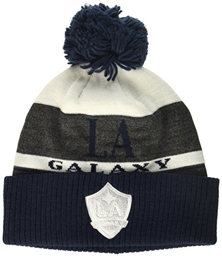 adidas MLS Los Angeles Galaxy Men's Heathered Gray Cuffed Knit Beanie with Pom, One Size, Black/White