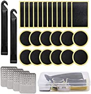 30 Pieces Bike Pre-Bonded Patch Puncture Repair kit,Bicycle Inner Tube Repair kit, Include tire tie rods, tire