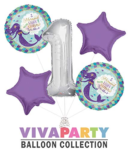 Mermaid Kisses and Starfish Wishes Round Balloon Bouquet 5 pc, 1st Birthday, Silver Number 1 Jumbo Balloon | Viva Party Balloon Collection